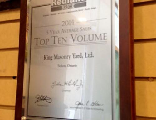 Redland Award – 5 Years Average Sales, Top 10 Volume